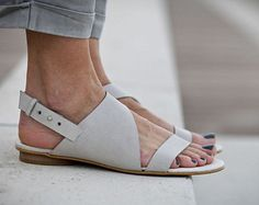 10% Sale, Francis, White Leather Sandals, Wedding Shoes, Flat Summer Shoes, White Sandals, Asymmetric Shoes