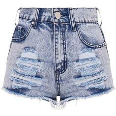 Elana Blue Ripped Denim Hotpants ($35) ❤ liked on Polyvore featuring shorts, short shorts, denim shorts, micro denim shorts, sexy hot pants and ripped shorts