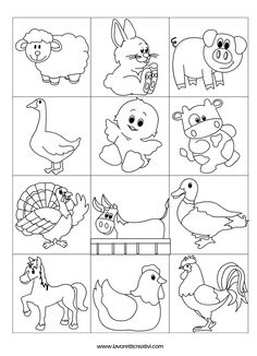 contrassegni-animali-fattoria2 Colouring Pages, Coloring Sheets, Coloring Books, Drawing For Kids, Line Drawing, Cute Drawings, Animal Drawings, Farm Theme, Baby Kind