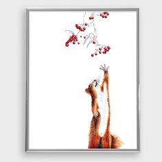 Illustration Eichhörnchen mit Beeren / 2015 ************************************************ Eichhörnchen - rote Beeren - Bleistift-Buntstift-Zeichnung. Wunderbare Reproduktion, absolut...