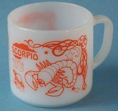 Vintage Federal Glass Zodiac Mug Scorpio Scorpio Zodiac, Horoscope, Orange Mugs, Vintage Dishes, Mug Shots, Pyrex, Milk Glass, Thoughtful Gifts, Astrology