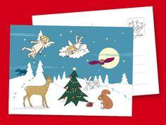 """Weihnachtsengel beschenken die Tiere im Wald! Niedliche Weihnachtspostkarten von """"die frizzles"""" bei DaWanda!"""