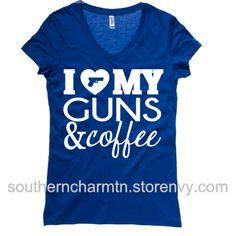 I love my guns and coffee v-neck t-shirt