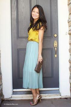 Frills and Ruffles: Plan B Mint skirt, yellow top