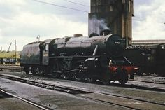 Stanier Black 5 4-6-0 44929 in unlined black on Agecroft Shed (9J). Not too long out of works by the look of her. 8th August 1965 (Bill Wright)