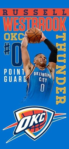 Russell Westbrook Oklahoma City Thunder NBA Large Beach Towel 28 in x 58 in