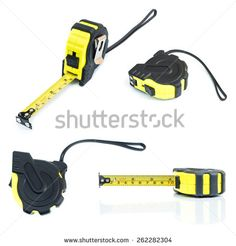 Tools set. Measure tape on white background. - stock photo