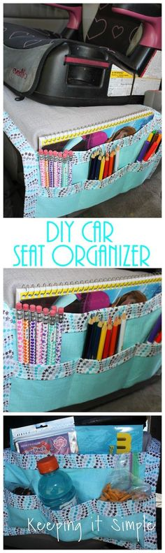 DIY car seat organizer for kid snacks, books and coloring supplies