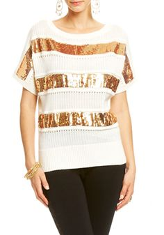 2b   Sequin Stripe Sweater - View All