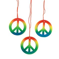 Rainbow Peace Sign Necklaces - OrientalTrading.com Thinking of attaching the name badges to these!!
