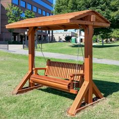 Bench Swing Set (Options: Large Bench, With Swing Roof, Mature Redwood, Classic … – desinghandmade Porch Swing Frame, Garden Swing Seat, Bench Swing, Pergola Swing, Backyard Swings, Backyard Seating, Backyard Patio, Outdoor Swings, Porch Swings