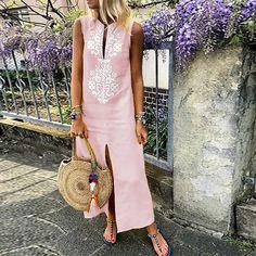 1746ae19af61 Cotton Line Casual V-Neck Maxi Dress – mumetaz Μονοκόμματα Φορέματα