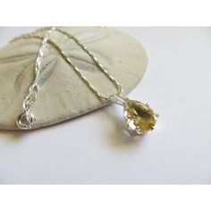 Citrine Necklace, Sterling Silver Necklace, Semi precious gemstone... (€49) ❤ liked on Polyvore featuring jewelry, necklaces, chain pendant necklace, sterling silver chain necklace, pear necklace, birthstone pendants and citrine necklace
