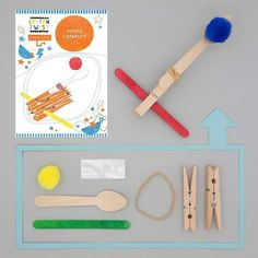 Avast - a brilliant plastic-free craft kit for pirate lovers Construct a catapult using the pegs, lolly sticks, spoon, elastics & glue dots. Add a pom pom to the spoon & see how far it can fly in the air. Practice makes perfect on the pirate aim! Perfect for three years & upwards. These Cotton Twist craft activities are often gifted as party bag or stocking fillers. In a bid to banish plastic tat from our homes, all Cotton Twist products are lovingly made by hand and all components a Catapult Craft, Goodbye To All That, Make Your Own, Make It Yourself, Wooden Pegs, Wooden Spoon, Mini Craft, Lollipop Sticks, Party Bag Fillers