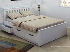 Wooden Double Beds With Storage Drawers White Wooden Storage Bed Frame With Drawers - Double Bed Storage, Double Bed With Storage, Wooden Bed With Storage, Simple Bed, Double Bed Designs, Bed Frame With Storage, White Wooden Bed, Bed Furniture, White Bed Frame