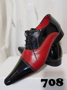 38927b74b1 Sapatos sociais com cadarço verniz preto e croco vermelho 708. ITA Comfort