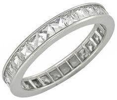 French Cut Diamond Platinum Eternity Wedding Band
