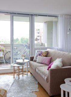 Main Street Condo | The Cross Condo Interior Design, Interior Design Services, Sofa, Couch, Main Street, Maine, Feminine, Windows, Bright