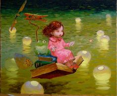 Travel with a book Victor Nizovtsev, Art Nouveau, Magic Realism, Mermaids And Mermen, Oil Painters, Art For Art Sake, Whimsical Art, Beautiful Paintings, Art For Kids