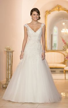 Modified A-line Lace and Tule Cap Sleeve Wedding Dress Style 5949 | Stella York