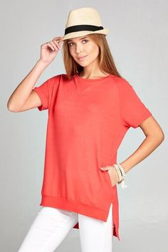 CREW NECK HIGH LOW TOP - CORAL $29.00   https://www.bluechicboutique.com/products/crew-neck-high-low-top-coral