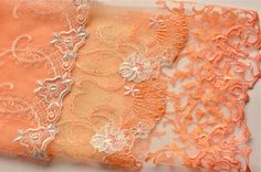 Orange, Lace Trim Grab Bag, Curated Lace Baggie, Best of Embroidery, Trim, Fragments for Creating