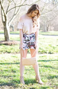 Ruffled Off The Shoulder Top | Scallop Shorts | Sandals | Purse | Necklace | Bracelet 1, Braclet 2 | Watch with This Band | Lipstick: NYX in color London (drug store brand at $5!) …. When I saw these shorts online, I fell in love with the floral and scallop detail, but they ...