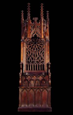 A well carved & tall Neo Gothic antique oak throne