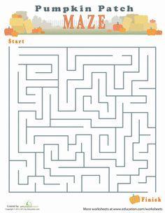 Fall Halloween Third Grade Mazes Worksheets: Autumn Maze
