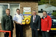 The communities of Notts wil be equipped with public access defibs on all fire stations. UK / United Kingdom / Community Heartbeat Trust