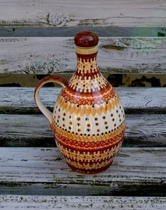 Boleslawiec Stoneware Polish Pottery - Oil or Salad Dressing Bottle