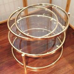 For plants Vtg Brass Glass Rings Circle Coffee Table Swivel Mid Century Modern Baughman Era | eBay