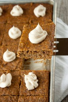 Loaded with nutrient dense, fiber-rich vegetable puree and all-natural sugar, these grain free pumpkin bars are sure to be a crowd pleaser: Gluten Free Sweets, Dairy Free Recipes, Whole Food Recipes, Paleo Sweets, Flour Recipes, Gf Recipes, Healthy Treats, Healthy Desserts, Delicious Desserts