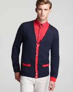 Marc By Marc Jacobs Contrast Trim Cardigan.
