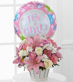 Girls Are Best Bouquet with It's a Girl Mylar balloon.