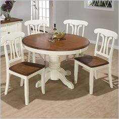 Painted dining room table and chairs on pinterest for Cottage style kitchen chairs