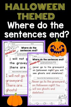 Looking for a fun and engaging Halloween reading and writing activity? Do your students need practice writing complete sentences with correct capitalization and punctuation? Then these no-prep, differentiated editing worksheets are for you! They each have 2, 3, or 4 Halloween themed sentences with missing capitals and punctuation. Your 1st grade or 2nd grade students' job is to figure out where the sentences end, edit, and then rewrite. First Grade Lessons, First Grade Activities, Writing Activities, Teaching Resources, Reading Lessons, Writing Lessons, Complete Sentences, Word Families, Holiday Activities