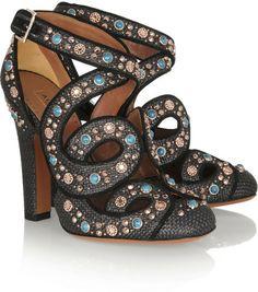Alaïa Black Cutout Embellished Raffia Pumps €1,640 Spring 2014 #Shoes #Heels