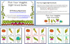 Pick Your Veggies Sight Word Game Freebie - 3 levels including Dolch Pre-Primer, Dolch Primer and First Dolch words