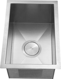 "Italia 12"" undermount stainless steel single bowl kitchen bar prep sink 16 gauge with deep bowl"