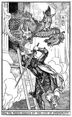 """oldbookillustrations: """" How the prince arrived at the city of immortality. Henry Justice Ford, from The Crimson Fairy Book by Andrew Lang, London, Mumbai, New York, 1903. (Source: archive.org) """""""