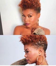Photos and Video: Taraji P Henson Debuts Low Cut Hair Tapered Natural Hair Cut, Natural Hair Short Cuts, Short Natural Haircuts, Natural Afro Hairstyles, Short Hair Cuts, Natural Hair Styles, Tapered Hairstyles, Au Natural, Tapered Haircut