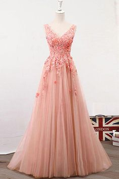 Lace Wedding Dress, Exciting Tulle V-neck Neckline Floor-length A-line Prom Dress With Lace Appliques & Handmade Flowers & Beadings Ftw Bridal UK Mint Bridesmaid Dresses, Floral Prom Dresses, Prom Dresses 2017, A Line Prom Dresses, Prom Dresses Online, Prom Party Dresses, Dress Prom, Rapunzel Wedding Dress, Simple Prom Dress