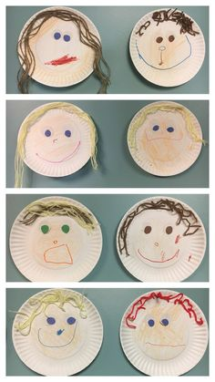 "Self-portrait paper plate art, pre-k, all about me week. We made these during … Self-portrait paper plate art, pre-k, all about me week. We made these during all about me week. I paired it with ""I like me"" book by Karen Beaumont. Preschool Themes, Preschool Lessons, Preschool Learning, Preschool Activities, All About Me Activities For Preschoolers, Preschool About Me, Feelings Preschool, All About Me Crafts, All About Me Book"