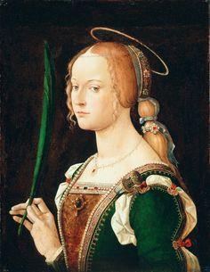 Saint Justina of Padua.1490. Oil on wood. 48.6 x 37.5 cm. Art by Bartolomeo Montagna.(1459-1523).