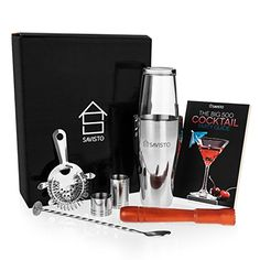 From Savisto Premium 8 Piece Cocktail Set Boston Cocktail Shaker Glass 500 Recipe Cocktail Book & Bar Measures Twisted Bar Spoon Strainer Wooden Muddler Elegant Gift Box Cocktail Party Food, Cocktail Book, Cocktail Making, Cocktail Shaker, Cocktail Recipes, Boston, Wine Decanter Set, Bar Spoon, Electric Wine Opener