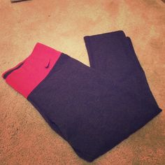 Nike Capri workout pant new without tags. Size s Nike Capri dry fit workout pant  size s grey color with red waste band Nike Pants Leggings