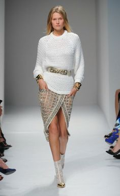 Balmain runway Spring/Summer 2014 looks | Love Balmain's metallic, perforated and lace booties for Spring!