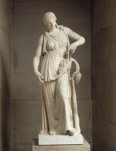 A bacchant or Ariadne, Roman statue (marble), copy, 2nd century AD, (Musée du Louvre, Paris).