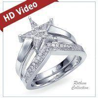 star kite diamond ring   matching Set of 18k White Gold Star Shaped Diamond Engagement Ring ...